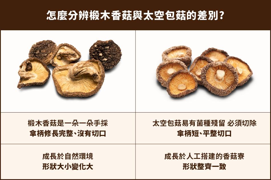 椴木香菇與太空包菇的差別